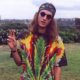 That hippie is stoned.