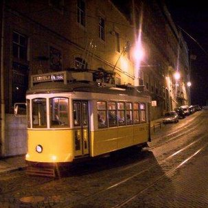 On a yellow tram