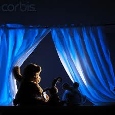 looking out the window at night