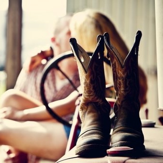 Cowboy boots in the summer sun