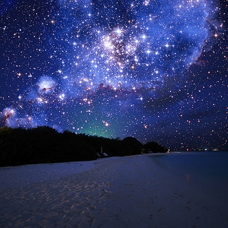 Staring at starry skies.