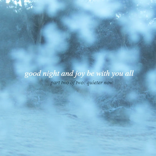good night and joy be with you all pt. 2: quieter now
