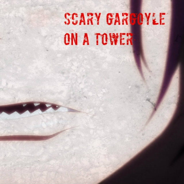 scary gargoyle on a tower