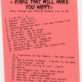 ☆ SONGS THAT WILL MAKE YOU HAPPY ☆
