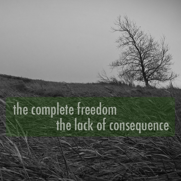 the complete freedom, the lack of consequence
