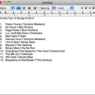 Winnie's Top 13 Songs of 2013