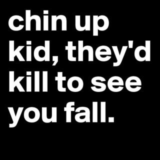 chin up kid, they'd kill to see you fall.