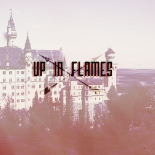 up in flames.
