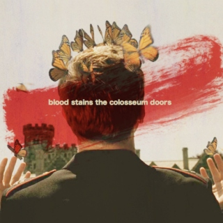 blood stains the colosseum doors