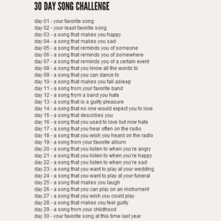 30 song challenge