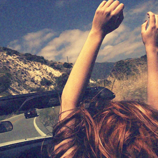 Driving with the windows down.