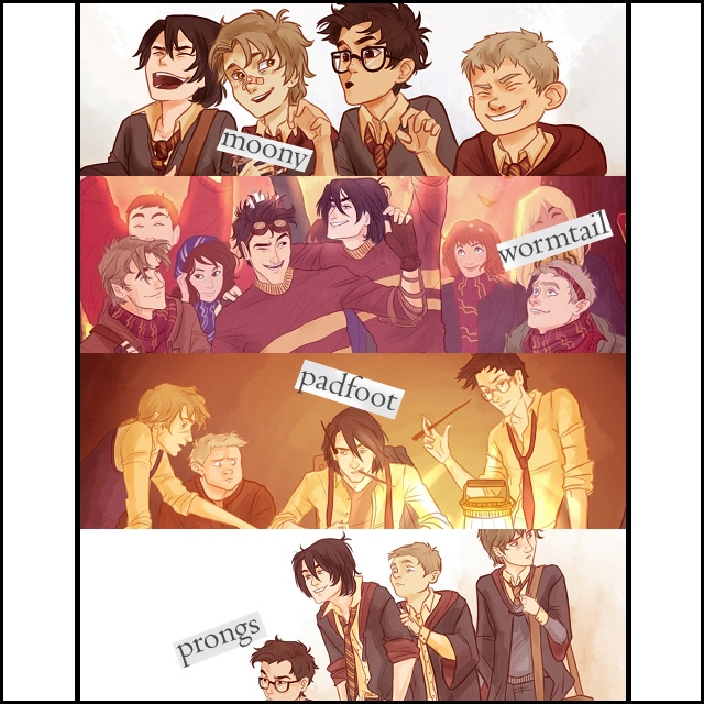 moony, wormtail, padfoot, and prongs