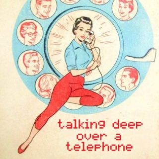 talking deep over a telephone