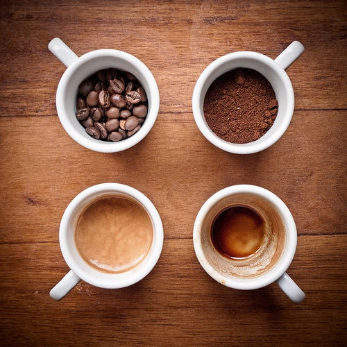 coffee beans and milk.
