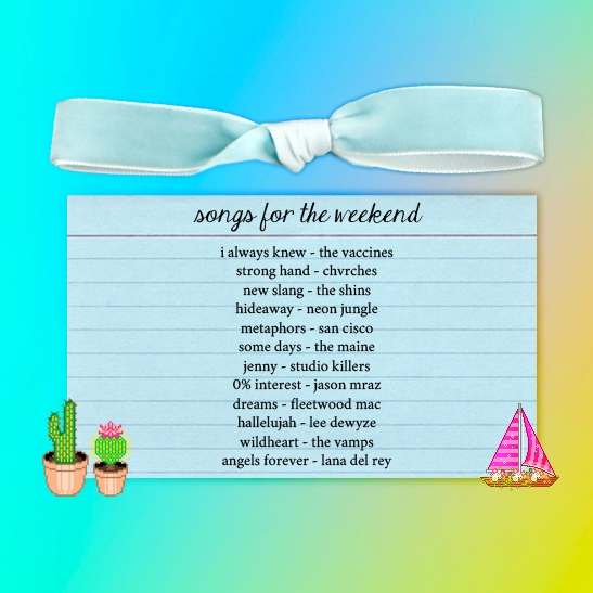 songs for the weekend.