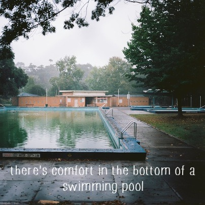 there's comfort in the bottom of a swimming pool
