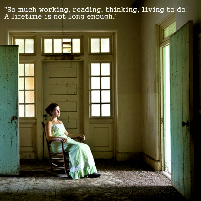 """So much working, reading, thinking, living to do! A lifetime is not long enough."" - Sylvia Plath"