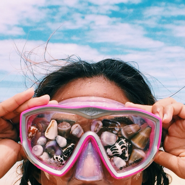 Collecting shells.