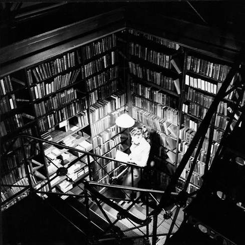 between the stacks in the library