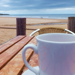 Morning coffee on the beach