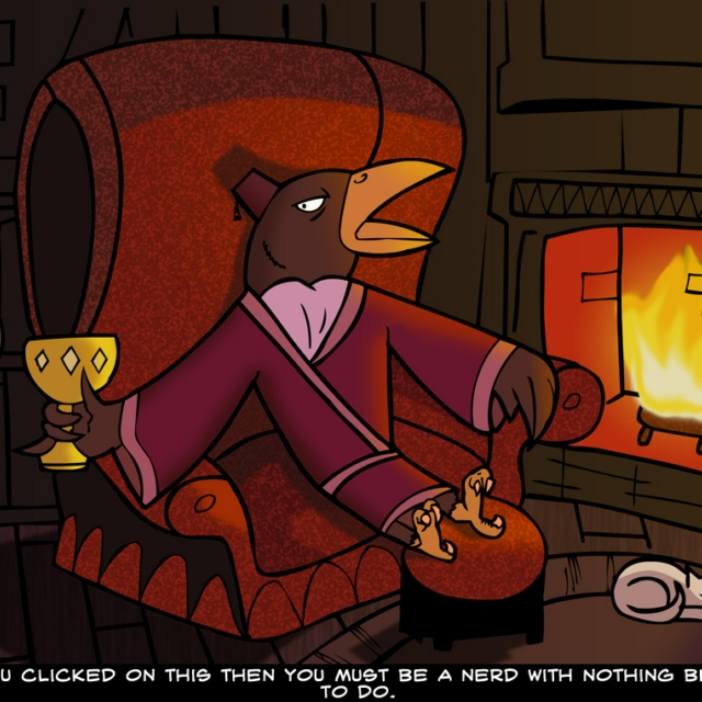Sir Raven Gleefully Listens To Music By A Crackling Fire On A Cold Winter's Night While Sipping A Fine French Brandy