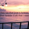Your forever is all that I need.