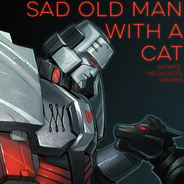 Sad Old Man With A Cat