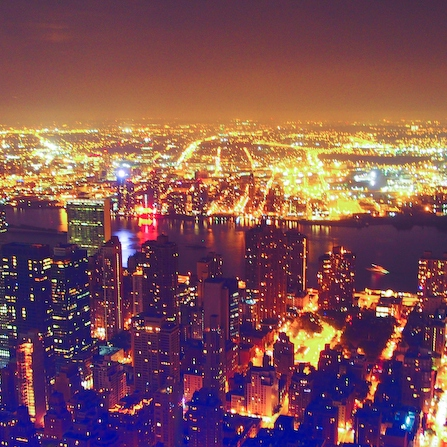 bright lights and city sounds