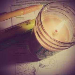 Studying finals by candlelight