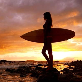 Surfer Girl at Sunset