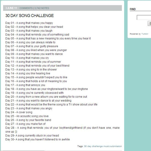 30-Day Song Challenge