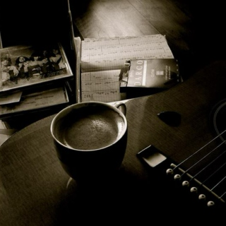 Rock night, coffee and the designs of a painting