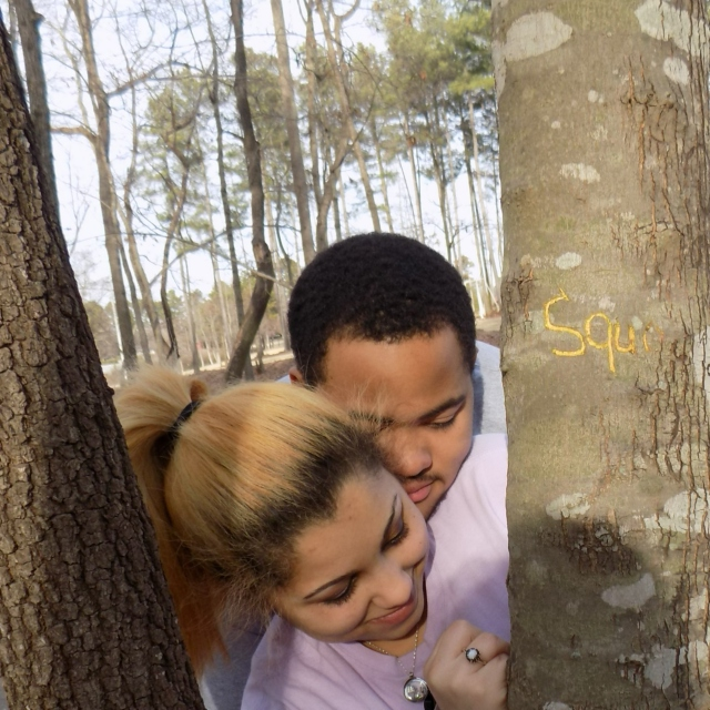 I carved our initials out of that tree.