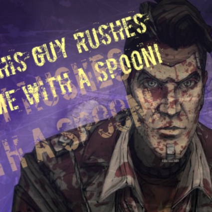 this guy rushes me with a SPOON!