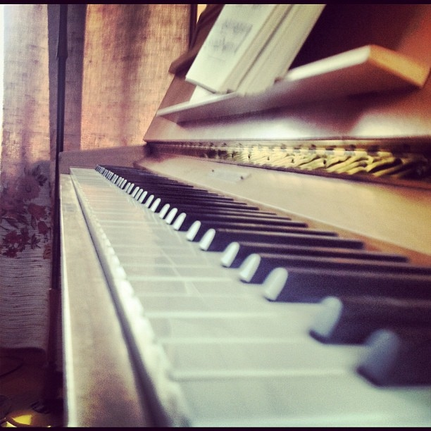 But you touching me like piano keys...
