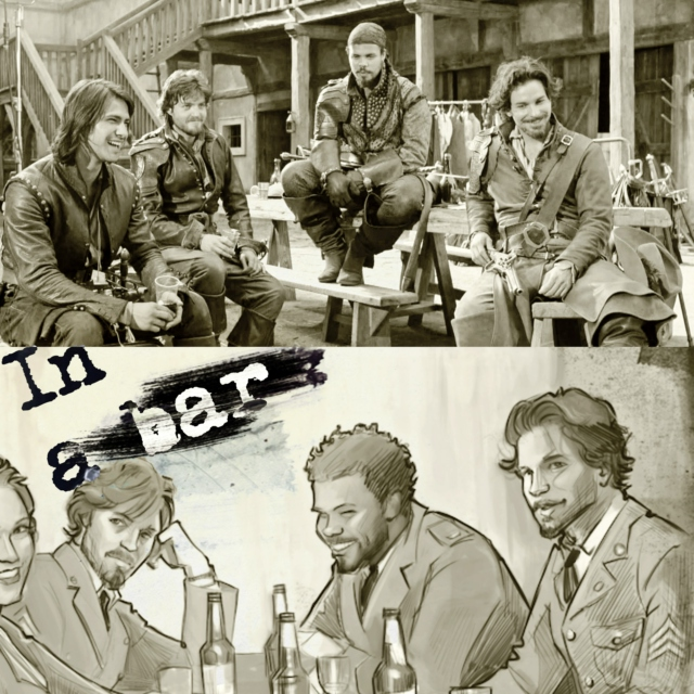 The Musketeers in a bar