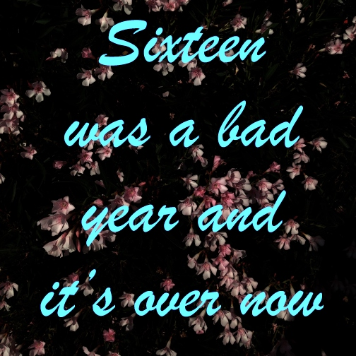 Sixteen was a bad year and it's over now