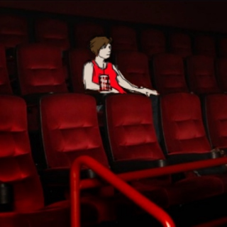 fuckin loser at movie all by himself