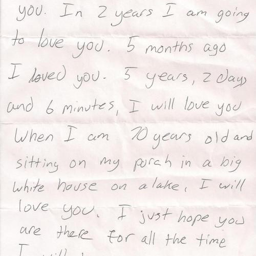 I wrote you a note