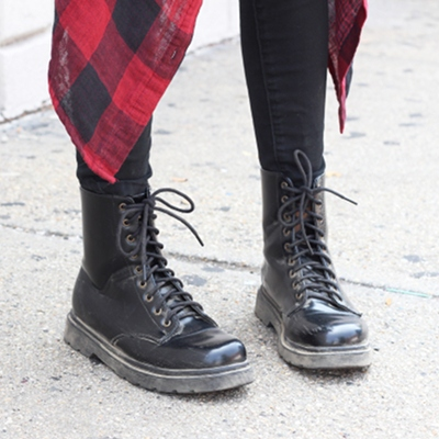 Flannel and Combat boots