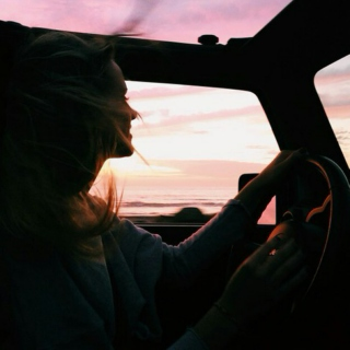 Sunset in the rearview