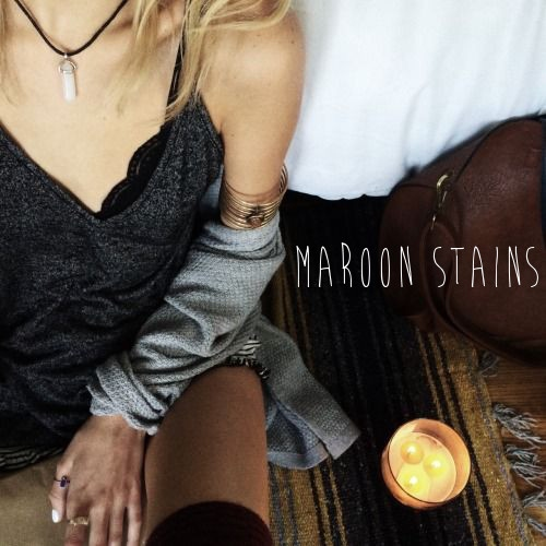 maroon stains
