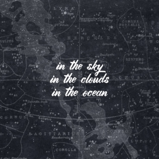in the sky, in the clouds, in the ocean