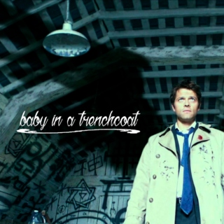 baby in a trenchcoat