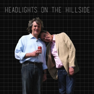 headlights on the hillside