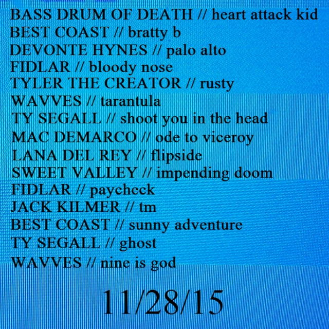 Favourite songs 11/28/15