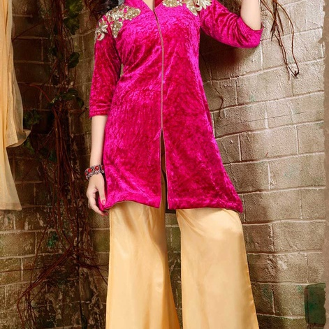 Pink Embroidered Velvet Palazzo Suit