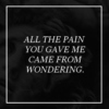 all the pain you gave me came from wondering.