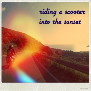 riding a scooter into the sunset