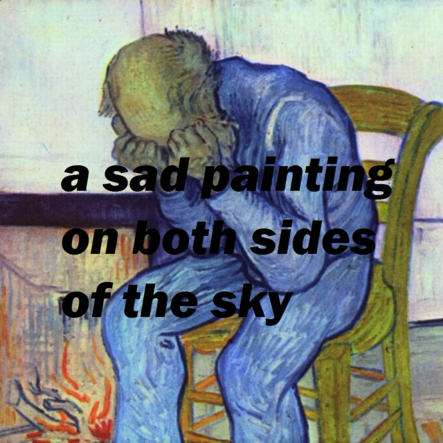 a sad painting on both sides of the sky